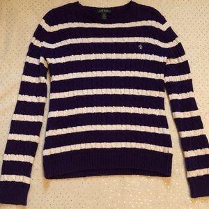 Ralph Lauren Thick Purple Stripped Sweater Size M